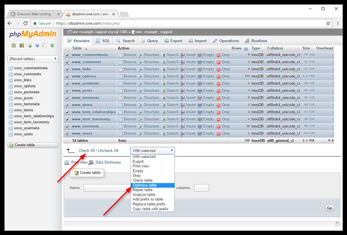 بهینه کردن پایگاه داده با کنترل پنل
